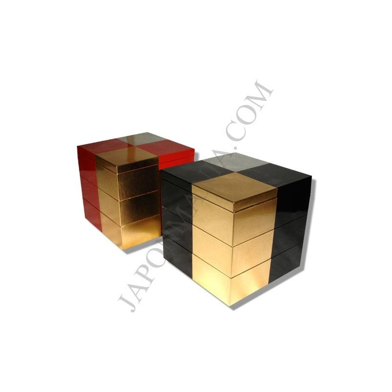 j bako bento lunch box 3 tier sandanj gold and silver leafs. Black Bedroom Furniture Sets. Home Design Ideas
