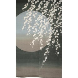 Noren gris bleuté en lin - Sakura Tsukiyo