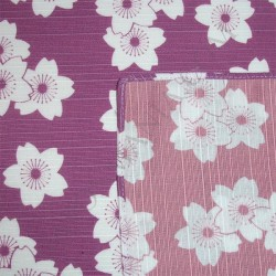 Furoshiki lilac & peach 48x48 - reversible - Cherry blossoms