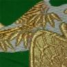 Silk embroidered green obi - Goshoguruma