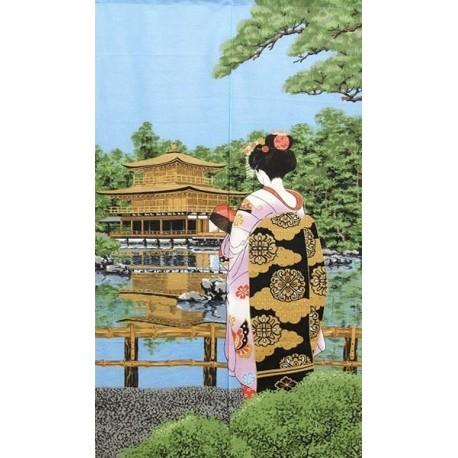 Noren en polyester - Geisha et temple Kinkakuji