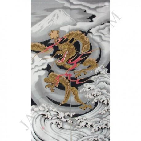 Noren en polyester - Grand dragon et Mont Fuji