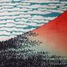 Furoshiki 50x50 bleu - Gaifû kaisei d'Hokusaï