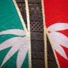 Kimono Furisode rouge et vert - Motifs de bambous et Tachibana