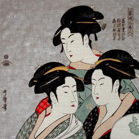 Furoshiki 50x50 gris perlé - Trois beautés d'Utamaro