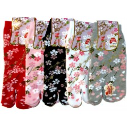 Tabi socks - Size 35 to 39 - Cherry blossoms prints