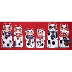 Tenugui Fuku Neko' Collection - Kazoku sorotte - Red