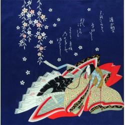 Furoshiki 67x67 bleu - motifs de Hime