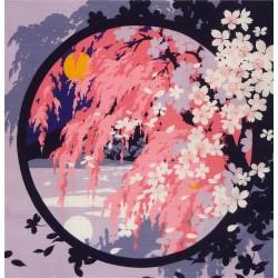 Furoshiki 50x50 lilac - Shidarezakura print