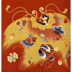Furoshiki 50x50 vermillon - Motifs d'objets porte-bonheur