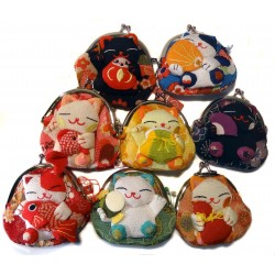Lucky cat coins holder pouch - Silk and chirimen