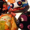 Manekineko Lucky cat coins holder pouch - Silk and chirimen