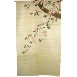 Hemp natural color Noren - Sakura branch