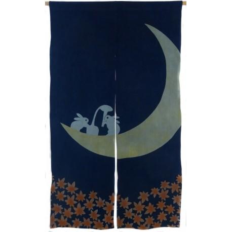 Indigo cotton Noren - Tsuki no Usagi - Moon rabbit