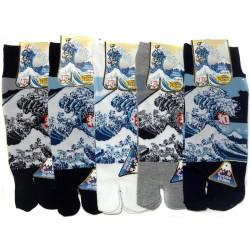 Chaussettes japonaises tabi - Du 39 au 43 - Motif Grande vague d'Hokusaï.