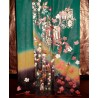 Kimono Furisode vert mélèze - Goshoguruma et glycines - kimono japonais