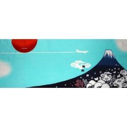 Tenugui réversible bleu - Mont Fuji - Bienvenue au Japon