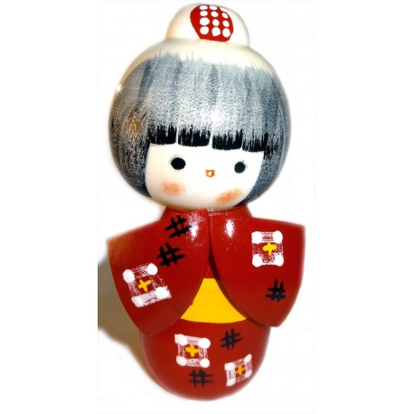 Poupée Kokeshi - Benikasuri - Kimono écarlate - Poupée japonaise en bois
