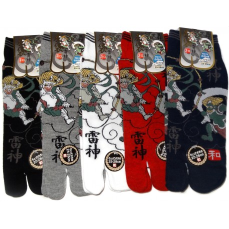 Tabi socks Size 39 to 43 - Fûjin and Raijin Gods print - Split toes socks