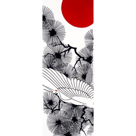 Tenugui - reversible - Tanchō crane and pine trees