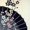 Tenugui réversible - Bagasa Zakura (parapluie japonais et fleurs de cerisier)