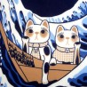 Tenugui Collection Fuku Neko - Grande vague d'Hokusaï