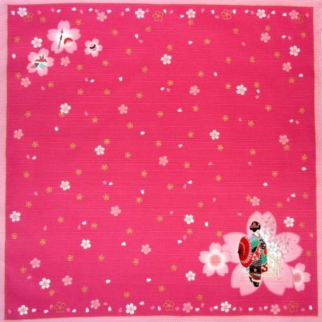Furoshiki 50x50 - Maiko and Sakura. Japanese furoshiki cloth.