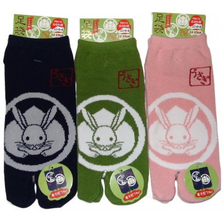 Tabi socks Size 39 to 43 - Usagi Kamon. Japanese split toes socks.