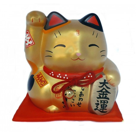 Golden lucky cat Maneki Neko piggy bank