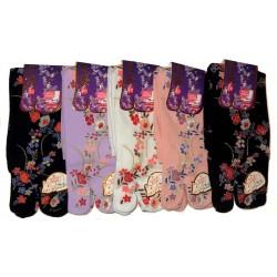 Chaussettes Tabi mi-mollet - Du 35 au 39 - Motifs floraux