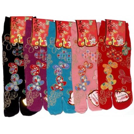 Chaussettes japonaises Tabi - Du 35 au 39 - Papillons. Chaussettes doigts originales.