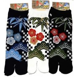 Chaussettes japonaises tabi - Du 39 au 43 - Motifs Shôchikubai.