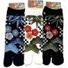 Chaussettes japonaises Tabi - Du 39 au 43 - Motifs Shôchikubai-mon. Chaussettes à doigts pour tongs