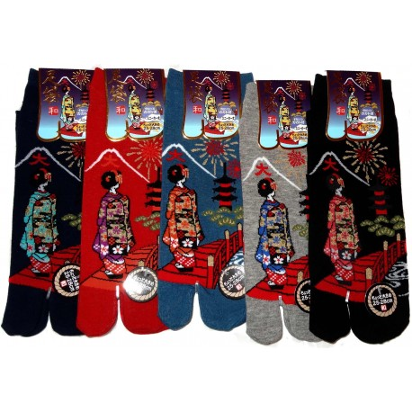 Chaussettes japonaises Tabi - Du 39 au 43 - Daimonji Maiko. Chaussettes à orteils séparés pour tongs.