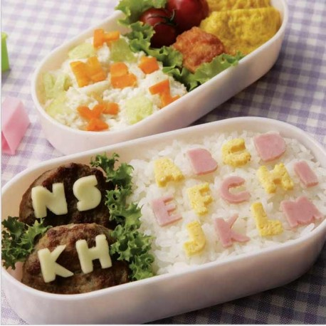 Alphabet primer cutters. Lunch box and bento accessories.