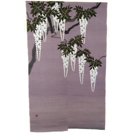 Noren parme en lin - Shirafuji. Rideaux japonais.