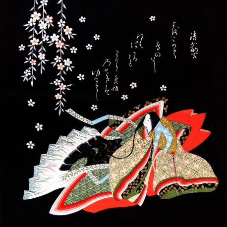 Furoshiki 67x67 black - Hime prints. Japanese wreapping cloths.