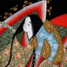 Furoshiki 67x67 noir - motifs de Hime. Tissu et textile japonais pour emballage.