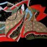 Furoshiki 67x67 black - Hime prints. Japanese wreapping cloths.