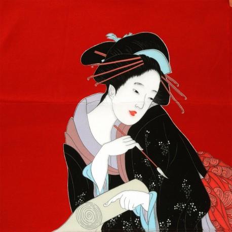 Furoshiki 68x68  rouge - Harumachi Bijin. Textile et tissu japonais d'emballage.