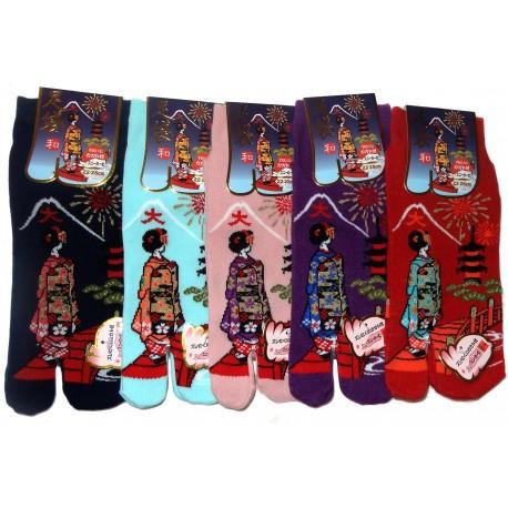 Chaussettes japonaises Tabi - Du 35 au 39 - Daimonji Maiko. Chaussettes à orteils séparés pour tongs.