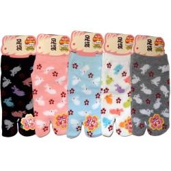 Chaussettes tabi enfants - Pointure 26 à 35 - Motifs de lapins