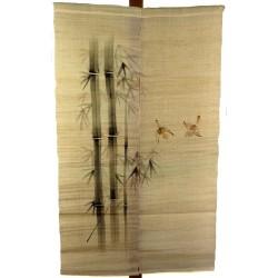 Noren naturel en lin - Bambous et moineaux