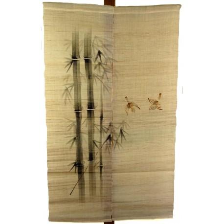 Noren naturel en lin - Bambous et moineaux. Rideaux japonais