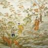 Kimono belt: Silk champagne obi **RARE** Feudal scenery