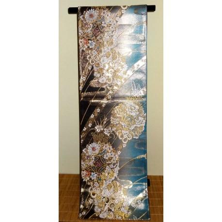 Ceinture de kimono Fukuro obi en soie - motifs floraux