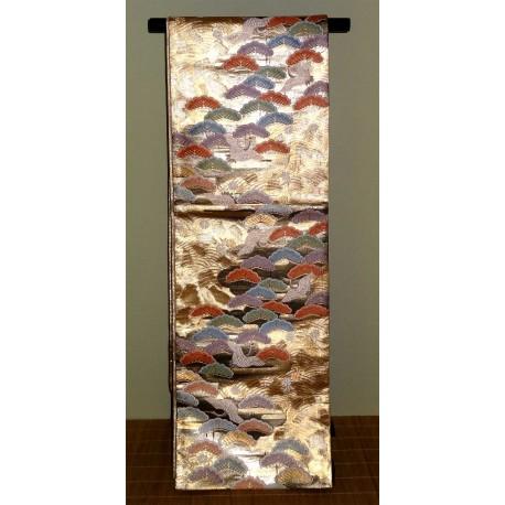Kimono belt: Golden silk fukuro obi - Cranes and Pine trees