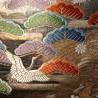 Ceinture de kimono Fukuro obi doré en soie - Grues et pins