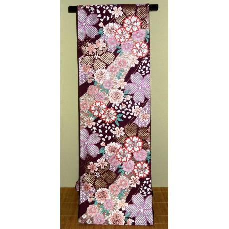 Ceinture de kimono Fukuro obi pourpre en soie - motifs floraux