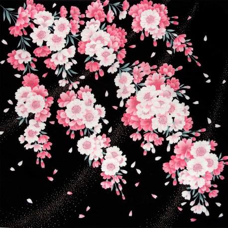Furoshiki 50x50 noir - Sakura Yukata. Carrés de tissus japonais